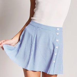 NWT ASOS gingham light blue mini skirt